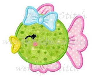 Girl fish applique machine embroidery design digital pattern