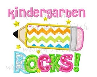 kindergarten rocks applique machine embroidery design digital pattern