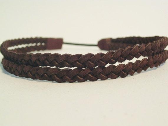 Double Braided Headband Halo Hairband Leather By Kelleythreads