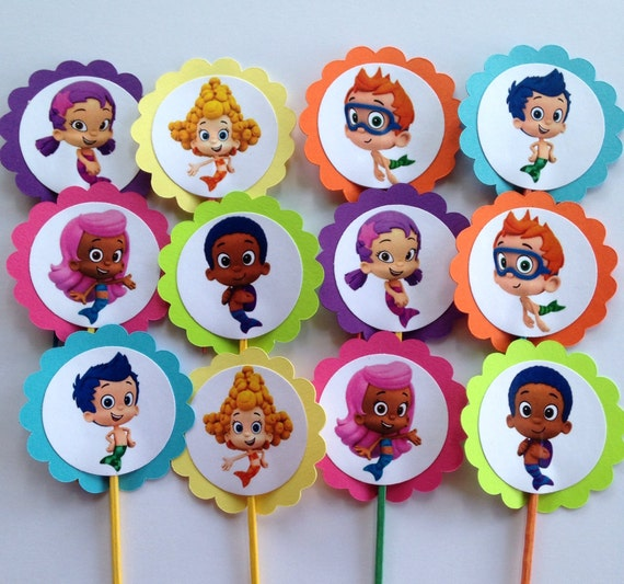 bubble guppies cake toppers guppies cupcake toppers by partyxtras on etsy 2100