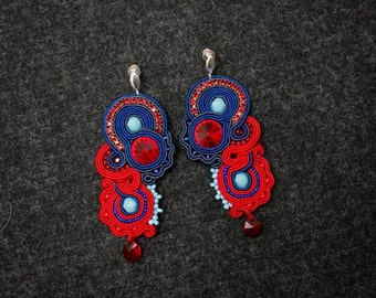 Soutache earrings navy-red S33/14 - made to order