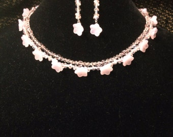 Pink 2-strand necklace and matching earrings