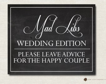 Wedding Mad Libs Sign, Advice for the Bridge and Groom Sign, Wedding Advice Sign, Printable, INSTANT DOWNLOAD DIY