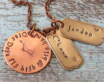 Personalized Disc Dog Hand Stamped Necklace - Dog Jewelry, Exclusive, Unique Dog Gift, Frisbee
