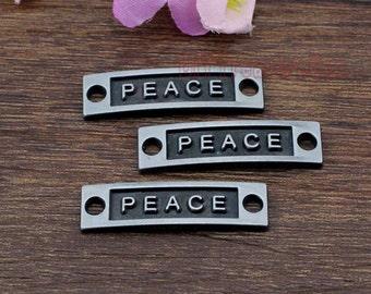 12pcs-Peace Charms, Antique Gun-black Peace Charm Pendants 35x10mm