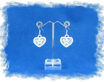 Free Standing Lace (FSL) Embroidery 925 sterling silver earrings - heart  .  *Please choose your preferred colour*