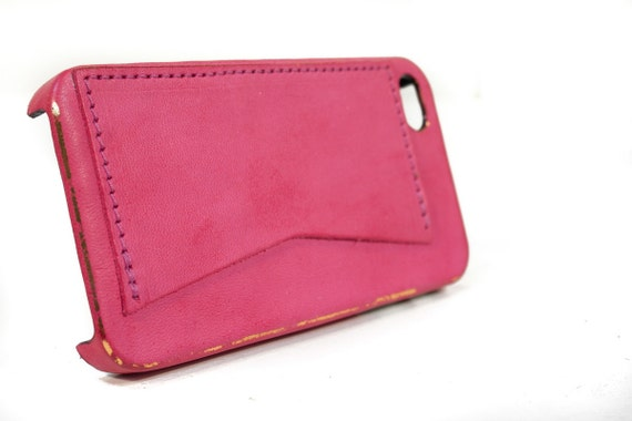 Iphone 6 5s 4s Hard Case  Horse Washed FUCSIA Aged with credit card pocket