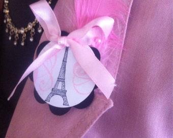 Paris Baby Shower Guest Pins (50)