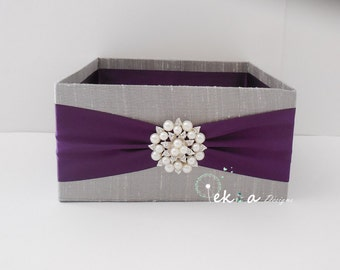 Wedding Program Box / Amenities Box / Program Holder / Open Box / Bubble box (Silver/Light grey & Plum) - rhinestone