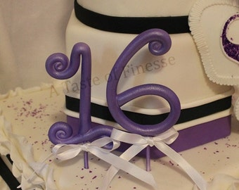 2 Whimsical Fondant Numbers Cake Topper, Cake Decoration, Sweet 16, Anniversary Cake Topper,  Quinceañera Cake Topper