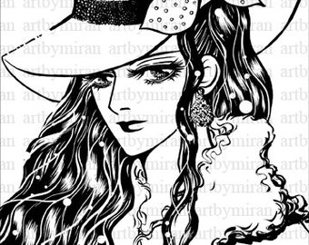 Digital Stamps-Scarlet, Coloring Page, Instant Download Digi Stamp, Black and White Illustration, Print able art, Anime, Manga