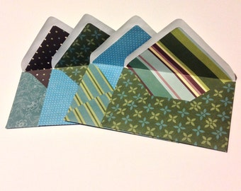 4 Patterned Green, Blue, Brown Envelopes