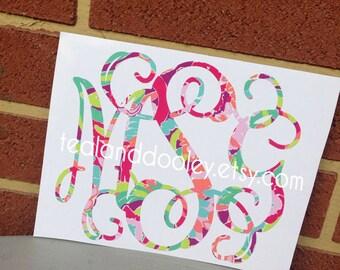 Lilly Pulitzer Inspired Monogram Vinyl Decal Sticker NEWEST PRINTS