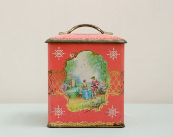 Vintage Pink Romantic Tin Box Free Shipping