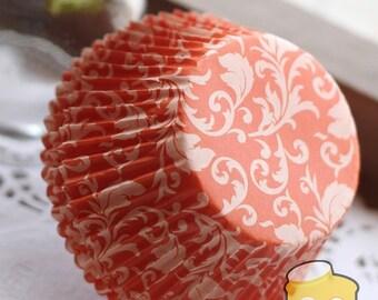 Orange Damask Cupcake Liners (50)