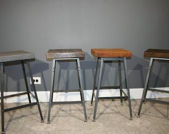 Set of 3 Bar Stools - Urban Reclaimed Wood Industrial modern Bar Stool-Hademade Salvaged Barn wood-fast shipping