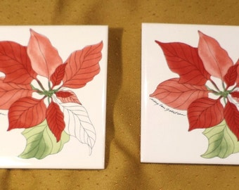Tiles, Coasters or Trivets, Pair of Signed Portuguese Floral Ceramic
