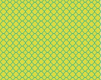 Lime and teal quarterfoil craft  vinyl sheet - HTV or Adhesive Vinyl -  clover quatrefoil pattern vinyl HTV518