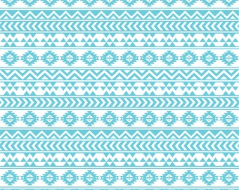 Aqua and white tribal pattern craft  vinyl sheet - HTV or Adhesive Vinyl -  Aztec Peruvian pattern HTV914