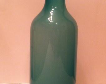 Hand Blown Sea Green Glass Bottle