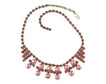 Pink Rhinestone GLAM Necklace - Vintage Necklace - 1950s Necklace - Costume Jewelry Necklace - Prom Necklace