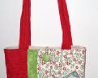 Quilted Purse / Tote Bag, Striped Red and Green
