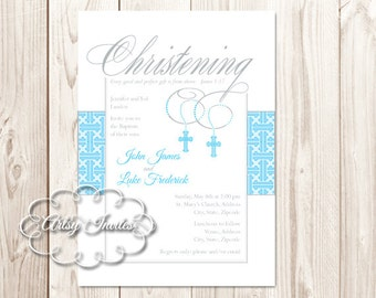 Cross | Twin Boys Christening Invitations Printable DIY
