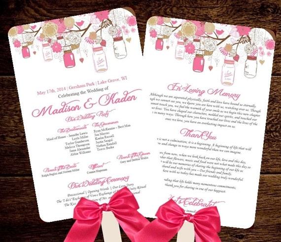 Wedding FAN Program Template Printable By PixelRomance4ever