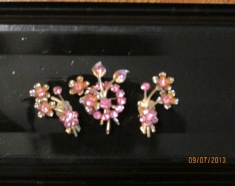 bouquet brooch & clip earrings