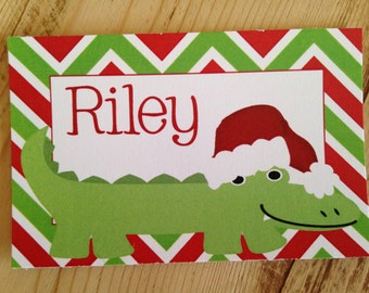 Set of 24 Personalized Christmas Gator Alligator Calling Cards Stationery Calling Cards