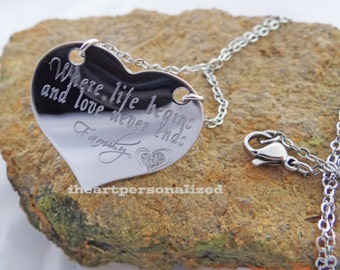 Personalized heart necklace - custom engraved heart necklace - memorial - loss - sympathy custom jewelry -  engraved with your own message