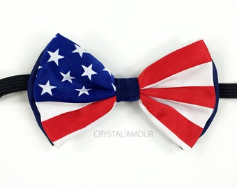 American Flag Bowtie - Red, White & Blue Bow Tie with Adjustable Straps - Stars and Stripes - USA Flag - Patriotic Flag Clothing Bowtie