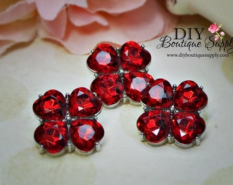 RED Crystal Buttons Rhinestone Flower center Buttons 23 mm Acrylic Rhinestone Embellishments Scrapbooking Headband Supplies 567035