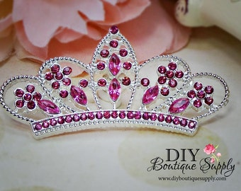 Large PINK Crystal Princess Crown Rhinestone Flatback Crown Embellishment Rhinestone Buttons Bow Headband Supplies 53mm 576100