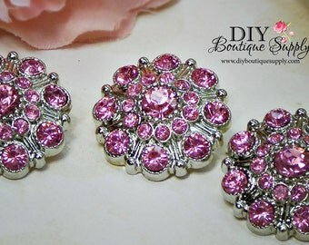Large Rhinestone Buttons PINK - Rhinestone Crystal buttons Embellishments Acrylic Flower centers Headband Supplies 28mm 3 pcs 610040