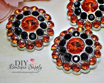 5 pcs HALLOWEEN Rhinestone Crystal Buttons Orange & Black Rhinestone Crystal Embellishments Acrylic Flower centers 24mm 676040