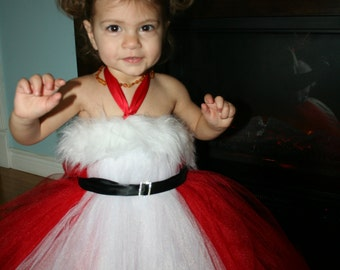 Red and White Santa Tutu Dress, Red and White Christmas Tutu Dress, Christmas Tutu Dress, Tutu Dress