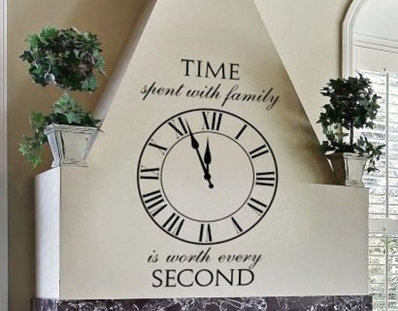 30 Inch Clock Stencil: Time Spent With Family WW268 Roman Clock Wall Lettering