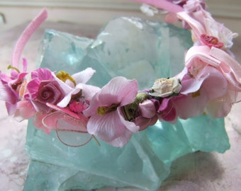 "flower girl headband, 'BROOK  THE BEAUTIFUL"" pink vintage flowers."