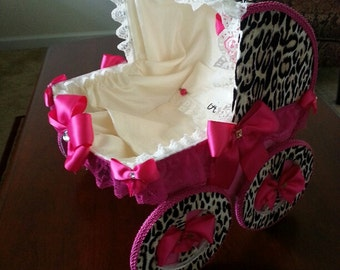 The Lexi Cheetah And Hot Pink 14 Inch Baby Carriage Centerpiece / Cheetah Baby Shower / Baby Shower Gift