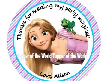 12 Personalized Tangled Princess Rapunzel Disney Chevron Birthday Party Favor Thank You Tags or Stickers You Choose Thanks