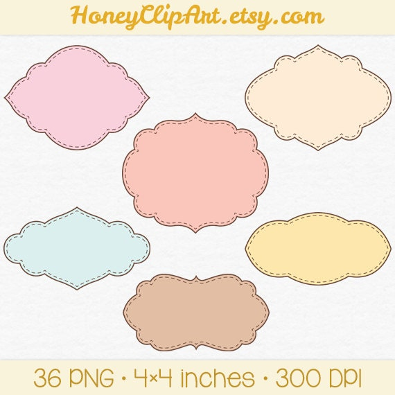 Label Clip Art, Stitched Label Clipart, Printable Tags, Fancy Label ...