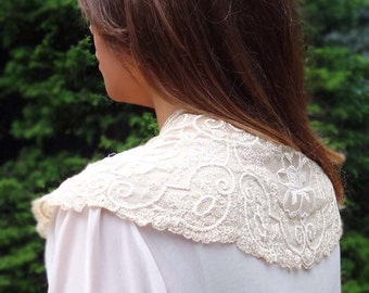LANA a Gorgeous Antique Vintage French Lace Bridal Capelet in Ecru