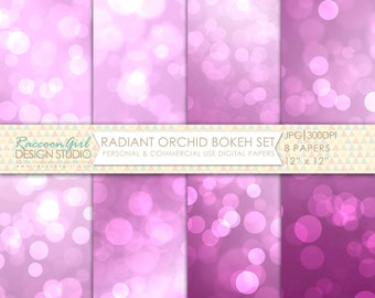 CLEARANCE Radiant Orchid Bokeh Digital Paper Set - Personal & Commercial Use