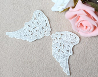 Mirror Pairs Off White Rayon Embroidery Wing Of Angel, Venise Lace Applique, Angel Wing