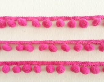Fuchsia Pink Pom Pom Trim, Pompom cotton ribbon, 100cm