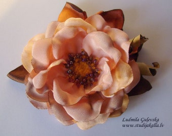 Handmade peach satin flower brooch, flower clip & pin