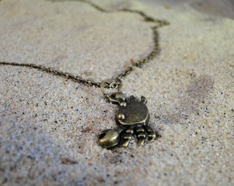 "Gold plated crab necklace - ""Snapper"""