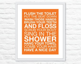 Bathroom Rules Wall Art Print - Modern - Tangerine Orange and White - Typography Poster - Subway Sign - 8x10