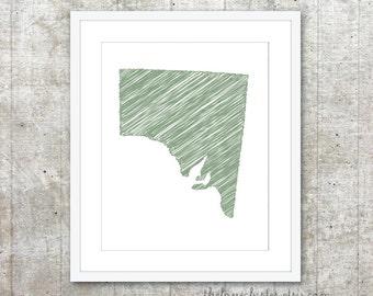 State of South Australia Art Print - Custom Australian State Poster - Sage Green - Modern Minimalist Australia Wall Art